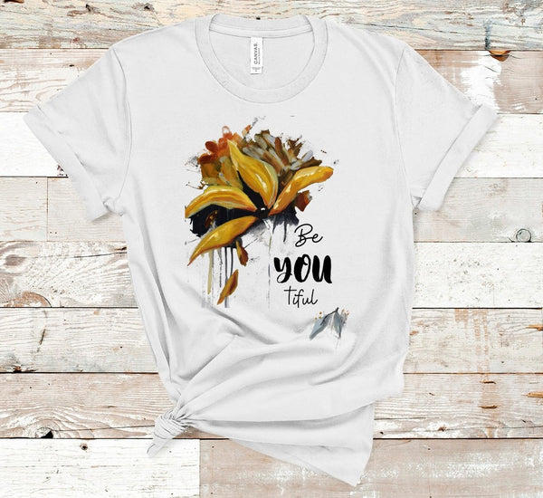"T shirt by JETT IMPRESSIONS ""Be You tiful"" Gold Floral Inspiring T shirts for Women"