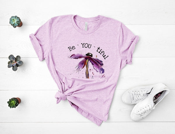 "T shirt by JETT IMPRESSIONS ""Be You tiful""  Floral Inspiring Tshirts for Women"