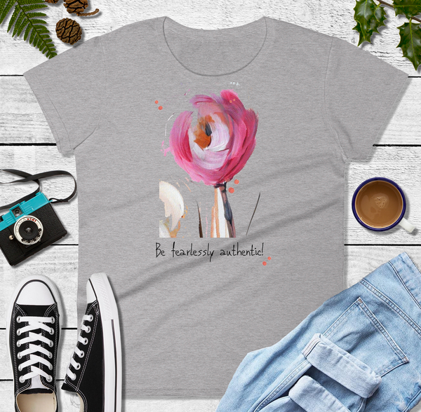 "Women's short sleeve t-shirt ""Be Fearlessly Authentic!"" Artwork designed by Kathy Morawiec"