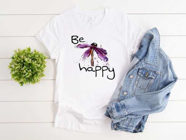 "T shirt by JETT IMPRESSIONS ""Be Happy"" Inspiring T shirts for Women"