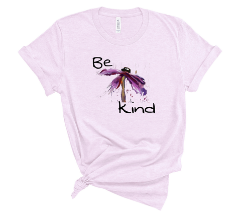 "T shirt by JETT IMPRESSIONS ""Be Kind"" Womens Short Sleeve Inspiring T-Shirt Artwork by Kathy Morawiec"