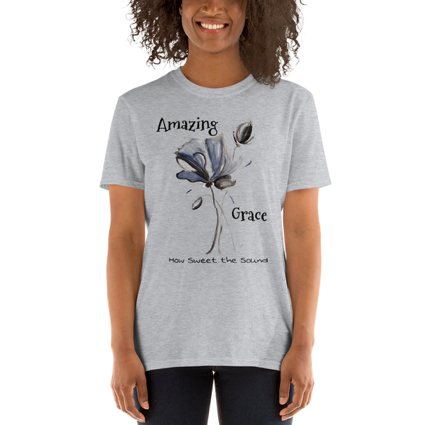 "T shirt by JETT IMPRESSIONS ""Amazing Grace How Sweet the Sound"" Womens Short Sleeve Inspiring T-Shirt Artwork by Kathy Morawiec"