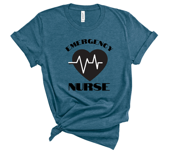 "T shirt by JETT IMPRESSIONS ""Emergency Nurse"" Unisex T shirt for Men or Women"