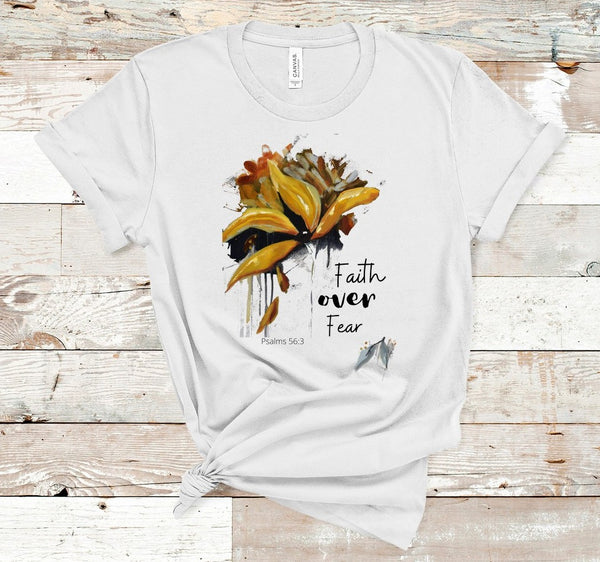 "T shirt by JETT IMPRESSIONS ""Faith Over Fear"" Christian Faith T shirts for Women"