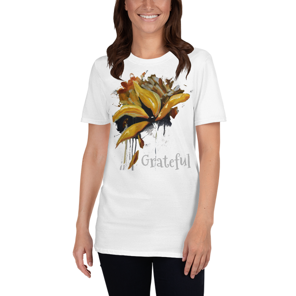 "T shirt by JETT IMPRESSIONS ""Grateful"" Womens Short Sleeve Inspiring T-Shirt Artwork by Kathy Morawiec"