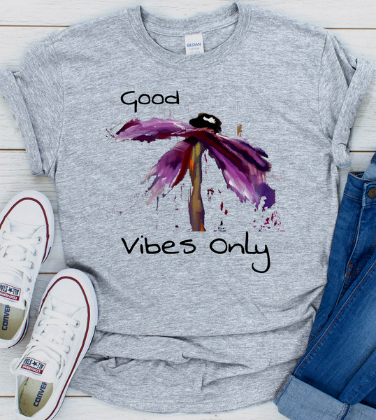 "T shirt ""Good Vibes Only"" Womens Short Sleeve Inspiring T-Shirt Artwork by Kathy Morawiec"