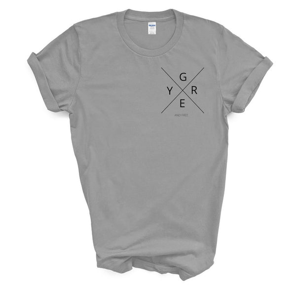 "T shirt by JETT IMPRESSIONS ""Grey and Free"" Grey Hair T shirts for Women"