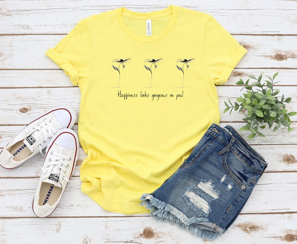 "T shirt by JETT IMPRESSIONS ""Happiness Looks Good on You"" Womens Inspiring T-Shirt Artwork by Kathy Morawiec"