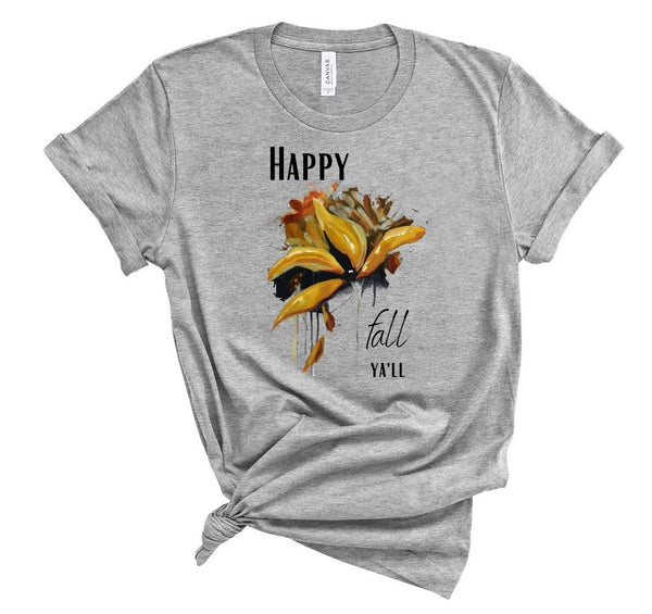 "T shirt by JETT IMPRESSIONS ""Happy Fall Ya'll"" Fall T shirts for Women"