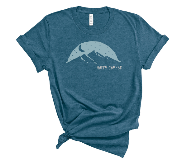 "T shirt by JETT IMPRESSIONS ""Happy Camper"" Mountain graphic Short Sleeve Unisex T shirt"