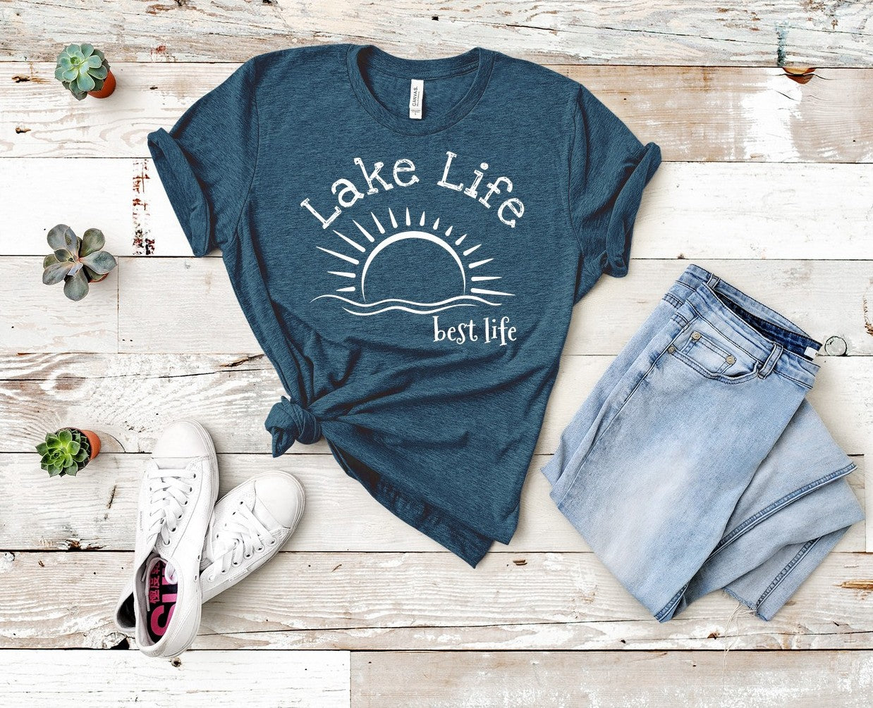 "T shirt by JETT IMPRESSIONS ""Lake Life Best Life"" Lake T shirts for Women"