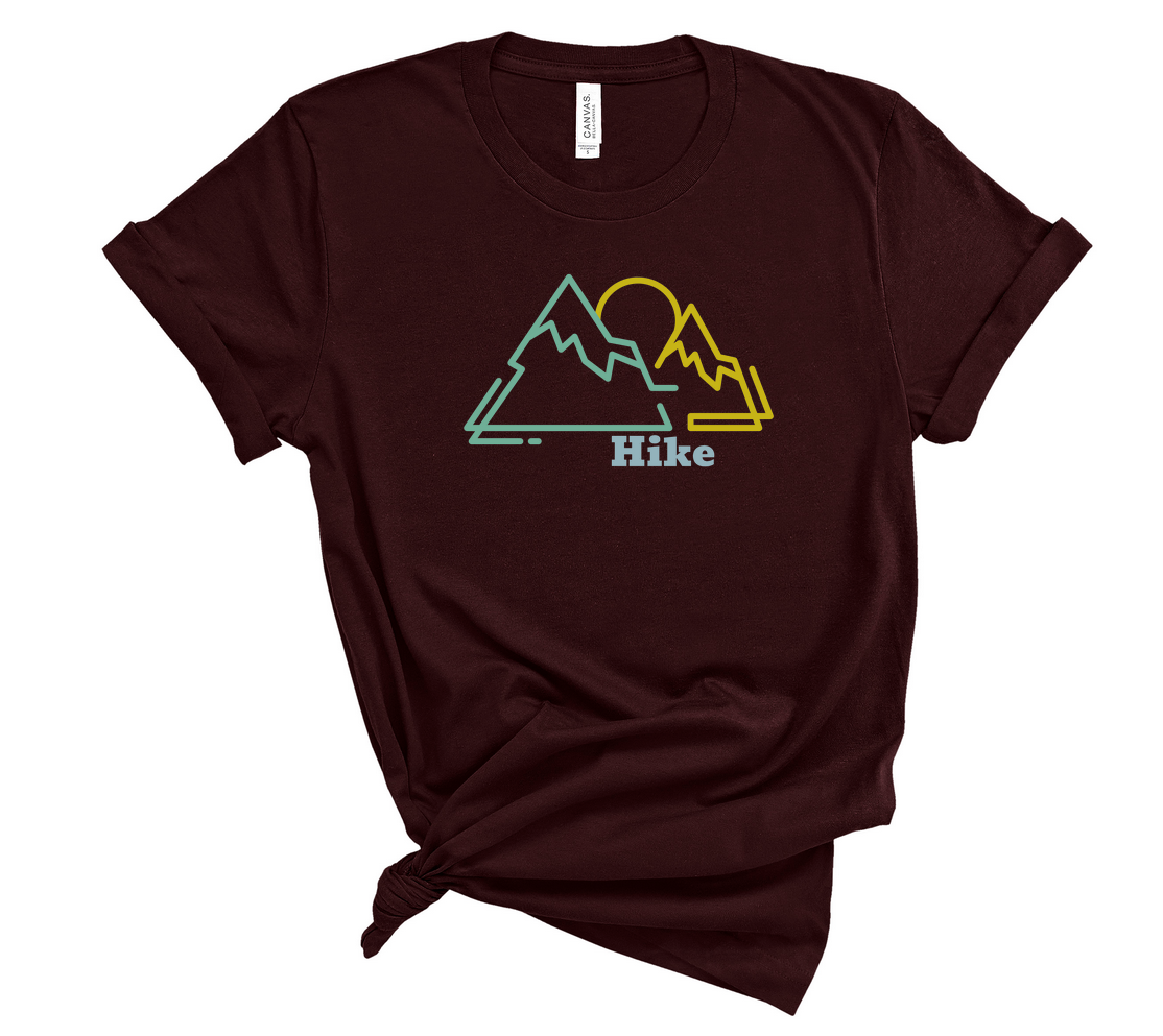 "T shirt by JETT IMPRESSIONS ""Hike"" Mountain graphic Short Sleeve Unisex T shirt"