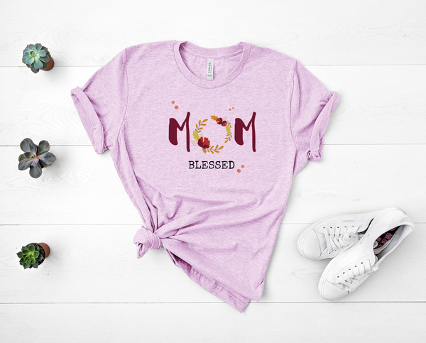 "T shirt by JETT IMPRESSIONS ""Mom Blessed"" Floral Womens T shirt"
