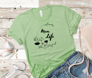 "T shirt by JETT IMPRESSIONS ""Mom Life"" Floral Womens T shirt"
