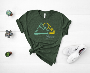 "T shirt by JETT IMPRESSIONS ""Breathe"" Mountain graphic Short Sleeve Unisex T shirt"