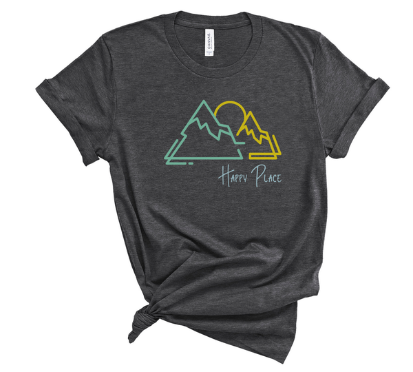 "T shirt by JETT IMPRESSIONS ""Happy Place"" Mountain graphic Short Sleeve Unisex T shirt"