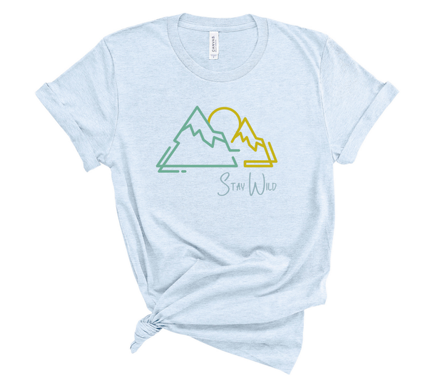 "T shirt by JETT IMPRESSIONS ""Stay Wild"" Mountain graphic Short Sleeve Unisex T shirt"