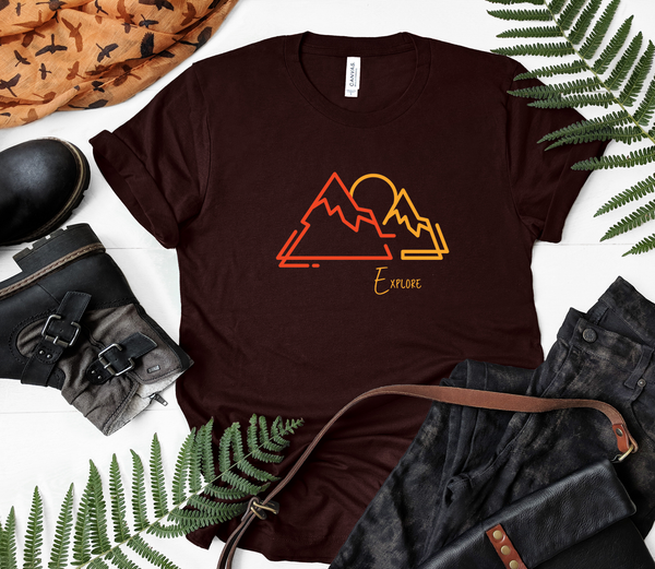 "T shirt by JETT IMPRESSIONS ""Explore"" Mountain graphic Short Sleeve Unisex T shirt"