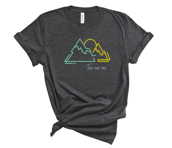 "T shirt by JETT IMPRESSIONS ""Take Your Time"" Mountain graphic Short Sleeve Unisex T shirt"