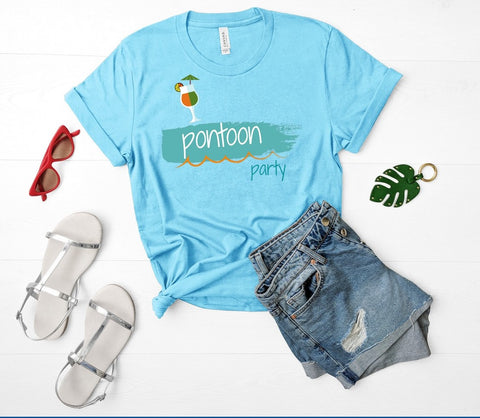 "T shirt by JETT IMPRESSIONS ""Pontoon Party"" Lake Boat T shirts for Women"