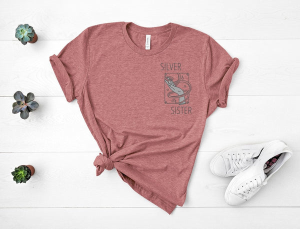 "T shirt by JETT IMPRESSIONS ""Silver Sister"" Grey Hair T shirts for Women"