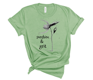 "T shirt by JETT IMPRESSIONS ""Sunshsine & Grit"" Short Sleeve Womens Tshirt"