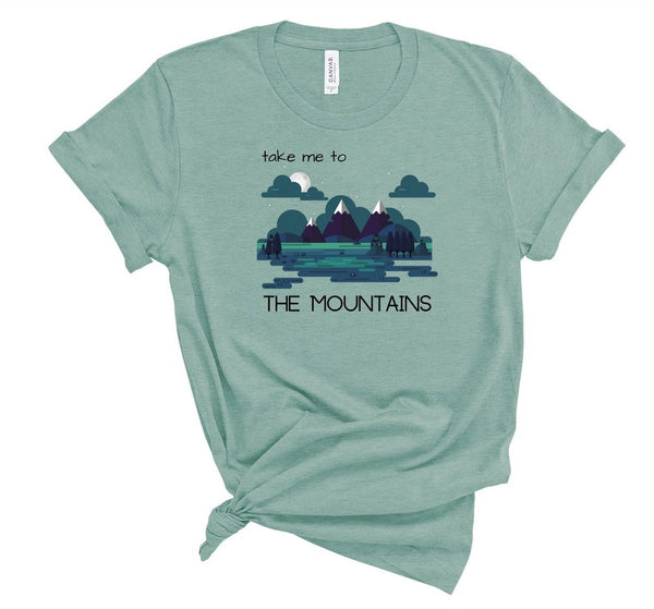 "T shirt by JETT IMPRESSIONS ""Take Me To The Mountains"" Tshirts for Women or Men"