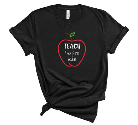 "T shirt by JETT IMPRESSIONS ""Teach Inspire Repeat"" Teacher T shirts for Women"