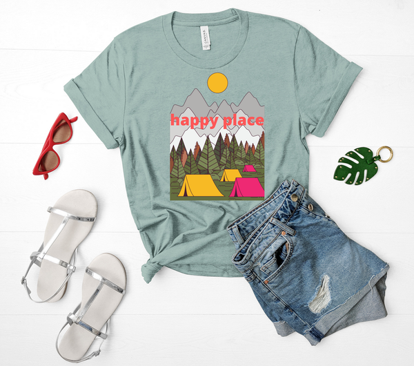 "T shirt by JETT IMPRESSIONS ""Happy Place"" Camping Short Sleeve Womens Tshirt"