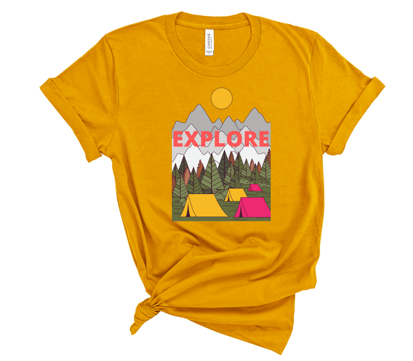 "T shirt by JETT IMPRESSIONS ""Explore"" Camping Short Sleeve Womens Tshirt"