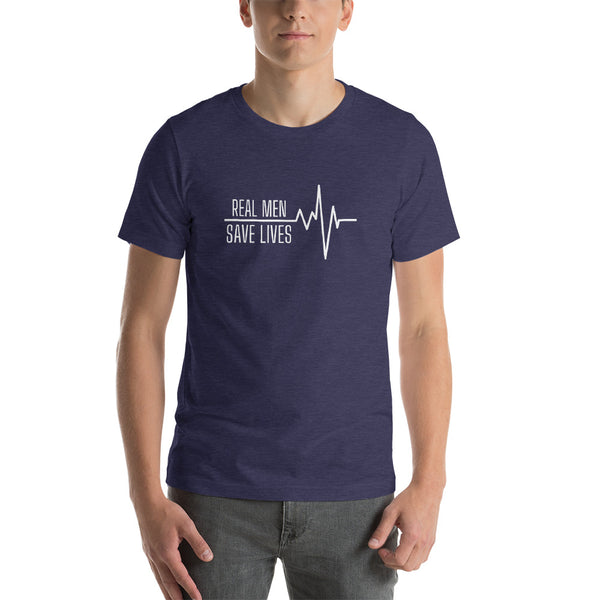 "T shirt by JETT IMPRESSIONS ""Real Men Save Lives"" Nurse Doctor Medic Mens T shirt"