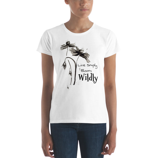 "Women's short sleeve t-shirt ""Live Simply Bloom Wildly"" Artwork designed by Kathy Morawiec"