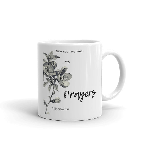 "Mug by JETT IMPRESSIONS with Religious Bible Verse Saying ""Turn Your Worries into Prayers"" Philippians 4:6 Coffee or Tea Cup"