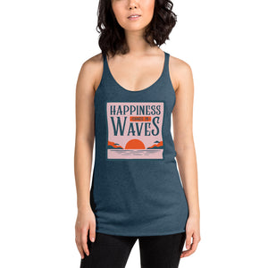 "Women's Racerback Tank by JETT IMPRESSIONS ""Happiness Comes in Waves"" Tank Top"