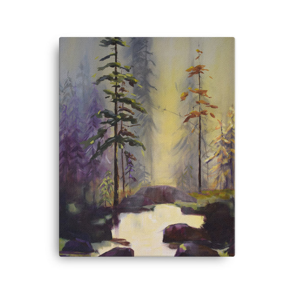 """Pyke Lake"" Peaceful Forest Landscape Canvas Print by Kathy Morawiec Artist"