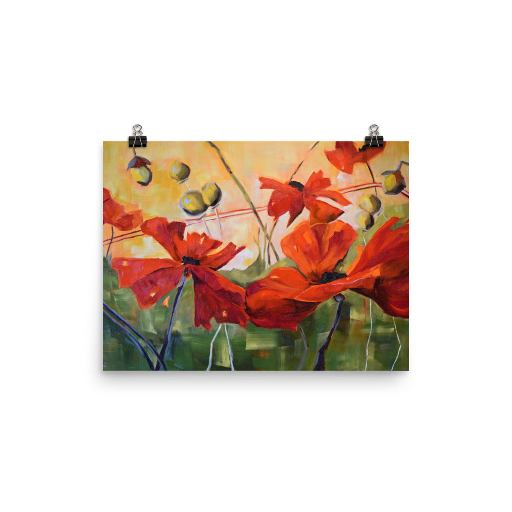 Red Poppie Giclee Print Artwork by Kathy Morawiec