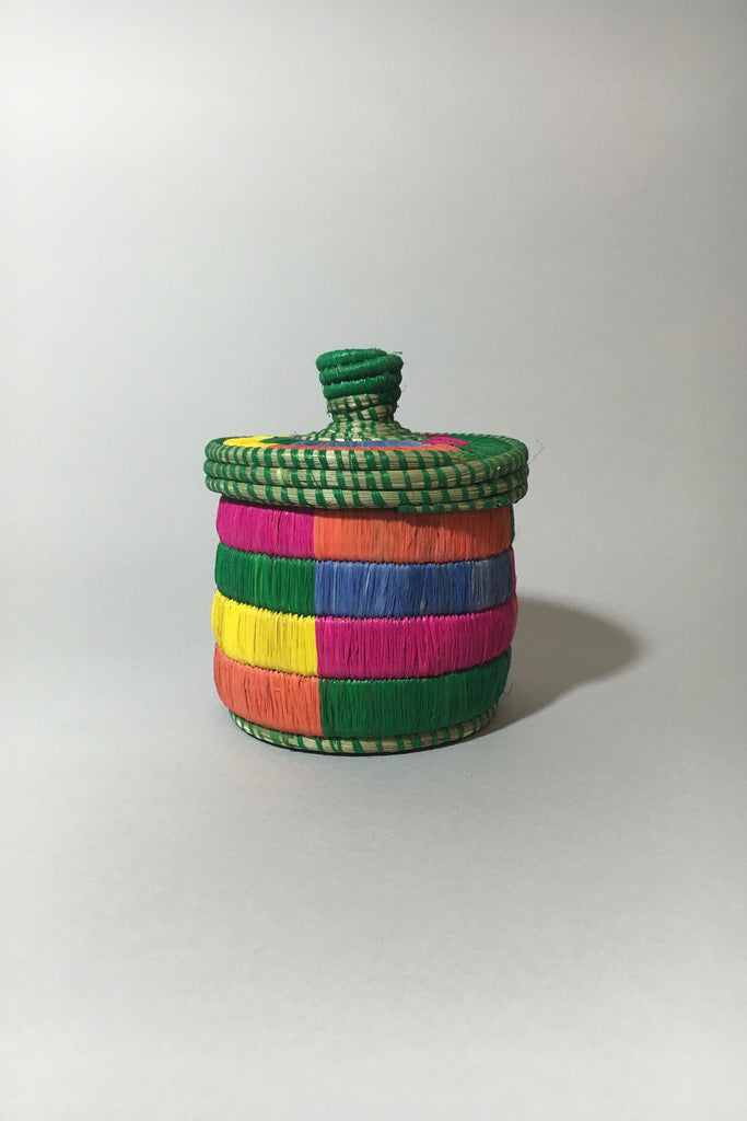 Multicolor Lidded Basket
