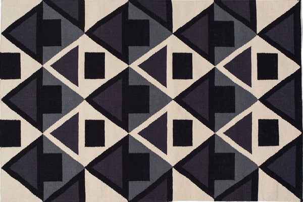 Aelfie Fiona flat-weave, graphic print rug, flat view