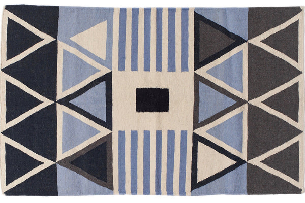 Aelfie Louise flat-weave, graphic print rug, flat view