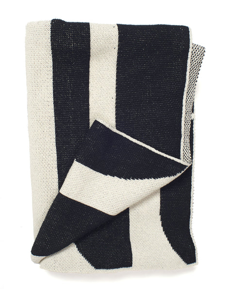 Aelfie Maude Throw Blanket, black/white, folded
