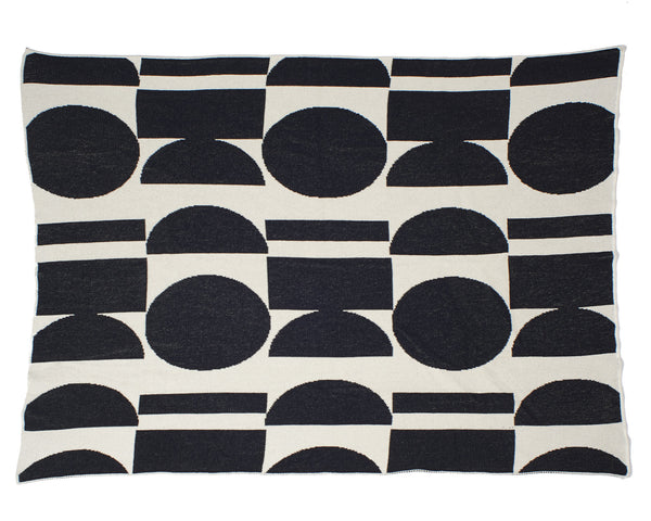 Aelfie Maude Throw Blanket, black/white, full view