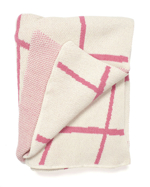 Aelfie Wavy Grid Throw Blanket, pink, folded