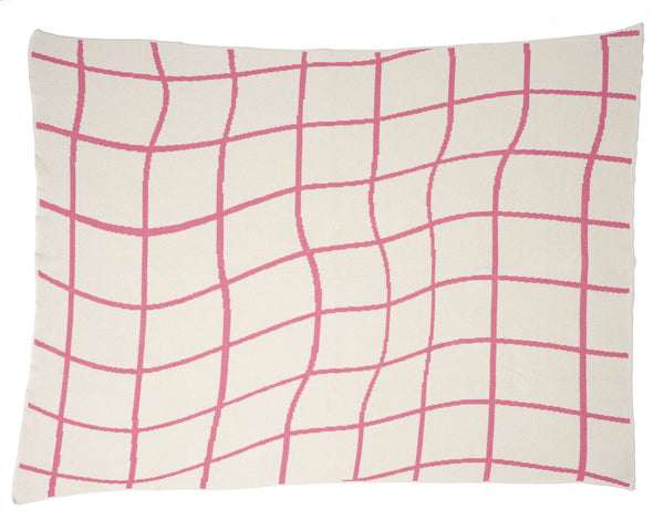 Aelfie Wavy Grid Throw Blanket, pink, full view