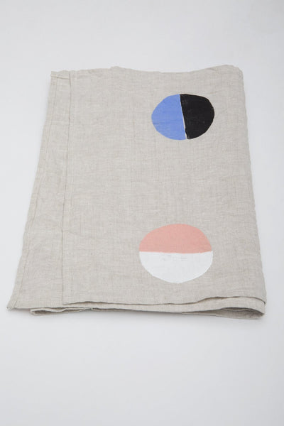 Caroline Z Hurley Natural Moons Linen Runner