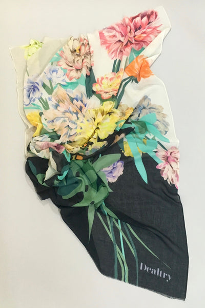 Dealtry Britta Scarf, painterly florals, cotton blend