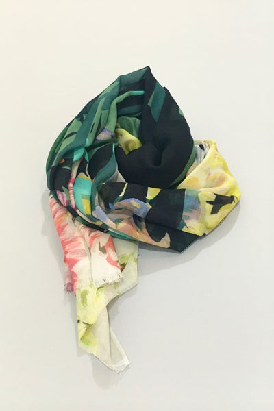 Dealtry Britta Scarf, painterly florals, cotton blend, twisted view