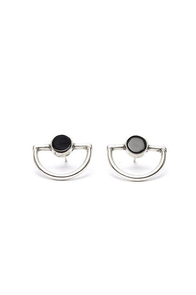 I Like It Here Club Orbit Studs, onyx/silver