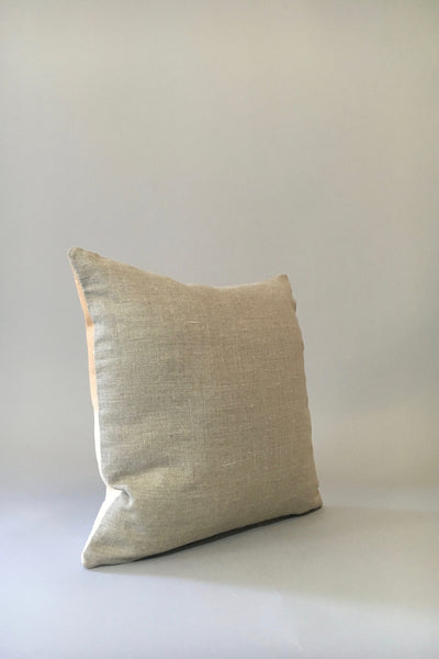 Materials + Process Two-Toned Modern Leather Pillow, large, linen back