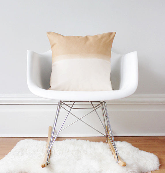 Materials + Process Two-Toned Modern Leather Pillow, large, styled in chair