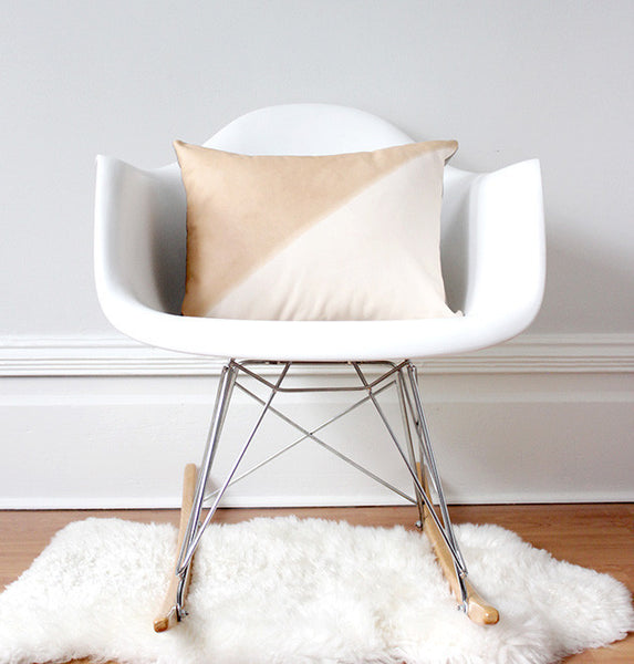Materials + Process Two-Toned Modern Leather Pillow, medium, styled in chair